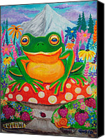 Frog Art Canvas Prints - Big green frog on red mushroom Canvas Print by Nick Gustafson