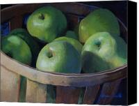Apples Pastels Canvas Prints - Big Greens Canvas Print by Jeanne Rosier Smith