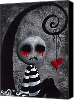Creepy Painting Canvas Prints - Big Juicy Tears of Blood and Pain 2 Canvas Print by Oddball Art Co by Lizzy Love