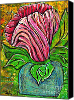 Tulip Mixed Media Canvas Prints - Big Pink Flower Canvas Print by Sarah Loft