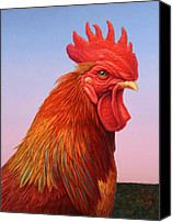 Rooster Canvas Prints - Big Red Rooster Canvas Print by James W Johnson