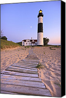 Building Canvas Prints - Big Sable Point Lighthouse Canvas Print by Adam Romanowicz