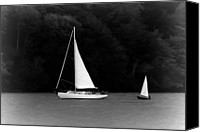 Black And White Digital Art Canvas Prints - Big Sailboat Little Sailboat Canvas Print by Tracie Kaska