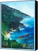 Landscapes Drawings Canvas Prints - Big Sur Califorina Canvas Print by Eric  Schiabor