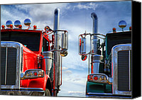 Road Canvas Prints - Big Trucks Canvas Print by Bob Orsillo