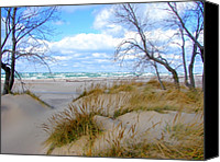 Fence Canvas Prints - Big Waves on Lake Michigan Canvas Print by Michelle Calkins