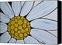 White Daisy Canvas Prints - Big White Daisy Canvas Print by Sharon Cummings