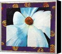 Painted Tapestries - Textiles Canvas Prints - Big White Flower Canvas Print by Grace Matthews