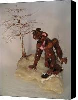 Woods Sculpture Ceramics Canvas Prints - Bigfoot on Crystal Canvas Print by Judy Byington