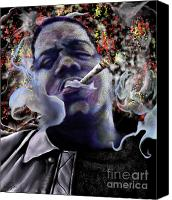 Hip-hop Canvas Prints - Biggie - Burning Lights 5 Canvas Print by Reggie Duffie