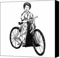 Person Drawings Canvas Prints - Bike Geisha Canvas Print by Karl Addison