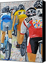 Tour De France Canvas Prints - Bike Map 2 Canvas Print by Michael Lee