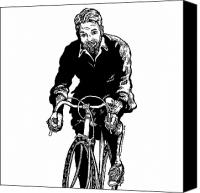 Person Drawings Canvas Prints - Bike Rider Canvas Print by Karl Addison