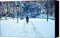 Fairmount Park Canvas Prints - Bike Riding in the Snow Canvas Print by Bill Cannon