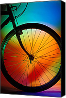 Riding Canvas Prints - Bike Silhouette Canvas Print by Garry Gay