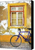 Old Wall Canvas Prints - Bike Window Canvas Print by Carlos Caetano