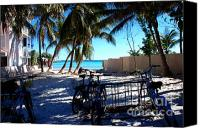 Beach Scene Canvas Prints - Bikes at Dogs Beach in Key West Canvas Print by Susanne Van Hulst