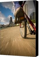 Cycle Canvas Prints - Biking Chicagos Lakefront Canvas Print by Steve Gadomski