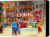 Resto Cafes Canvas Prints - Biking  Past Ben Canvas Print by Carole Spandau