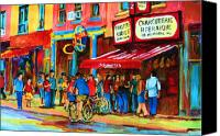 Montreal Restaurants Canvas Prints - Biking Past The Deli Canvas Print by Carole Spandau
