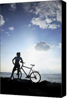 Brandon Tabiolo Canvas Prints - Biking Silhouette Canvas Print by Brandon Tabiolo - Printscapes