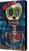 Sugar Skull Painting Canvas Prints - Bikini Canvas Print by  Abril Andrade Griffith