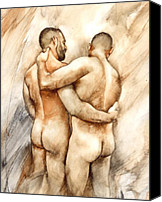 Naked Painting Canvas Prints - Bill and Mark Canvas Print by Chris  Lopez