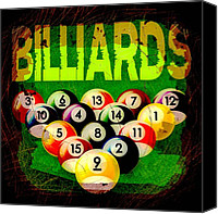 Billiard Digital Art Canvas Prints - Billiards Abstract Canvas Print by David G Paul