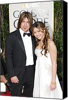 Golden Globe Canvas Prints - Billy Ray Cyrus, Miley Cyrus Wearing Canvas Print by Everett