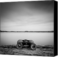 Cloud Glass Canvas Prints - Binoculars On Plank Canvas Print by Peter Levi