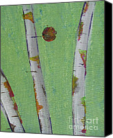 Silver Moonlight Canvas Prints - Birch - Lt. Green 1 Canvas Print by Jacqueline Athmann