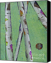 Silver Moonlight Canvas Prints - Birch - Lt. Green 2 Canvas Print by Jacqueline Athmann