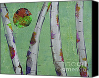 Silver Moonlight Canvas Prints - Birch - Lt. Green 3 Canvas Print by Jacqueline Athmann