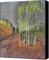 Dyes Tapestries - Textiles Canvas Prints - Birch Grove 1 Canvas Print by Carolyn Doe