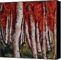 Forest Sculpture Canvas Prints - Birch Trees in Autumn Canvas Print by Alison  Galvan