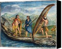 Indian Canoe Canvas Prints - Birchbark Canoe, 1738 Canvas Print by Granger