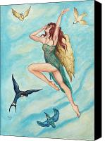 Fairies Drawings Canvas Prints - Bird Dancer Canvas Print by Jane Indigo Moore