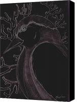 Scanned Canvas Prints - Bird in Negative Canvas Print by Dan Nita