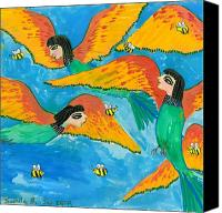 Sue Burgess Canvas Prints - Bird people Bee Eaters for Artweeks Canvas Print by Sushila Burgess
