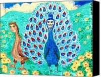 Peacocks Ceramics Canvas Prints - Bird people Peacock king and peahen Canvas Print by Sushila Burgess