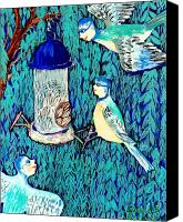 Sue Burgess Canvas Prints - Bird people The bluetit family Canvas Print by Sushila Burgess