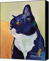 Tuxedo Cat Canvas Prints - Bird Watcher Canvas Print by Pat Saunders-White