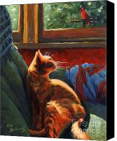 Cats Canvas Prints - Birdie in the Window Canvas Print by Pat Burns