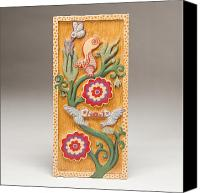 Carving Reliefs Canvas Prints - Birds and Blossoms Canvas Print by James Neill