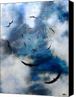 Apocalypse Mixed Media Canvas Prints - birds of apocalypse VI Canvas Print by Poul Costinsky