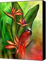 Animal Art Mixed Media Canvas Prints - Birds Of Paradise Canvas Print by Carol Cavalaris