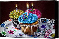 Dessert Drawings Canvas Prints - Birthday Cupcakes Canvas Print by Hillary Scott