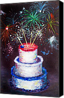 4th July Painting Canvas Prints - Birthday in America Canvas Print by Ann Marie Napoli