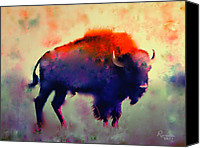 Bison Canvas Prints - Bison Canvas Print by Rosalina Atanasova