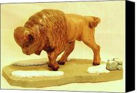 Woodcarving Sculpture Canvas Prints - Bison  Canvas Print by Russell Ellingsworth